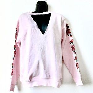 Pink V Neck Cut Out Rose Embroidered Sweatshirt